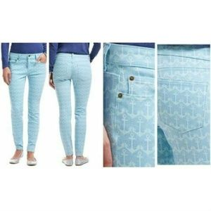 Vineyard Vines Anchor Print 5 Pocket Pants Blue